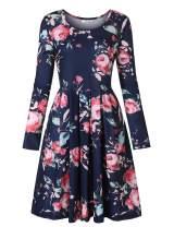 Tanst Sky Womens Long Sleeve Christmas Dresses Floral Print Swing Midi Dress