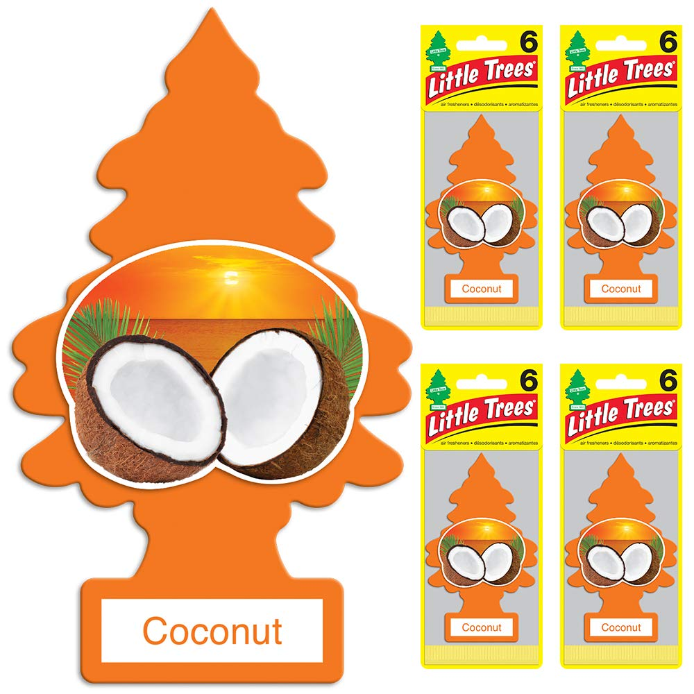 Little Trees Car Air Freshener   Hanging Tree Provides Long Lasting Scent for Auto or Home   Coconut, 6-Packs (4 Count)