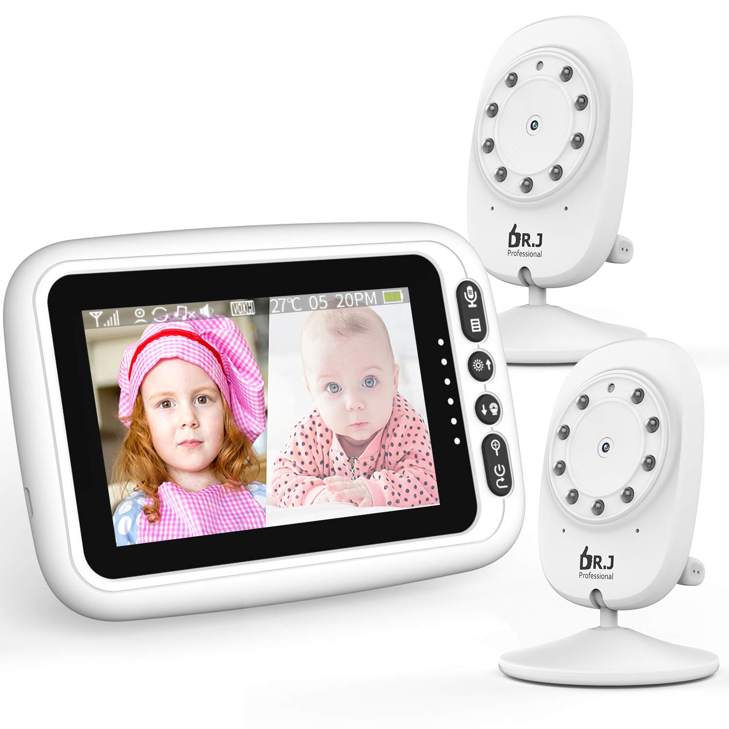 """2 Cameras with 4.3"""" Video Baby Monitor, Auto-Switch Cameras, Up to 8 Hours 1200mAh Rechargeable Battery, Doggie Camera, 2-Way Talk, Power Saving/VOX, Zoom in, Night Vision, Temperature and Lullabies"""