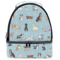 Naanle Vintage Animal Dog French Bulldog Double Decker Insulated Lunch Box Bag Waterproof Leakproof Cooler Thermal Tote Bag Large for Men Women Youth