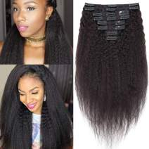 S-noilite Kinky Straight Clip in Human Hair Extensions for Black Women Afro Kinky Straight Hair Clip on 100% Remy Kinky Hair Double Weft Thick Full Head 8 Pcs/18 Clips/Set 18 Inch #Natural Black