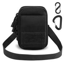 AIRSSON Tactical Molle Pouch, 1000D Nylon EDC Belt Waist Pouch Molle Small Utility Gadget Gear Tool Black for Men