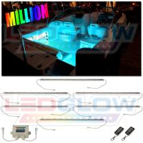 """LEDGlow 6pc Million Color LED Boat Marine Deck & Cabin Accent Lighting Kit - 20"""" Waterproof Flexible Light Strips - Screw Cap Connectors with O-Rings - Includes Control Box & Wireless Remote"""