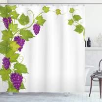 "Ambesonne Vineyard Shower Curtain, Latin Brochure Italian Town Province Vintage Style Menu Sign Art Pattern, Cloth Fabric Bathroom Decor Set with Hooks, 75"" Long, Violet Green"