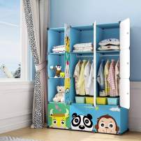 MAGINELS Children Wardrobe Kid Dresser Cute Baby Portable Closet Bedroom Armoire Clothes Hanging Storage Rack Cube Organizer ,Large Blue 8 Cube & 2 Hanging Section