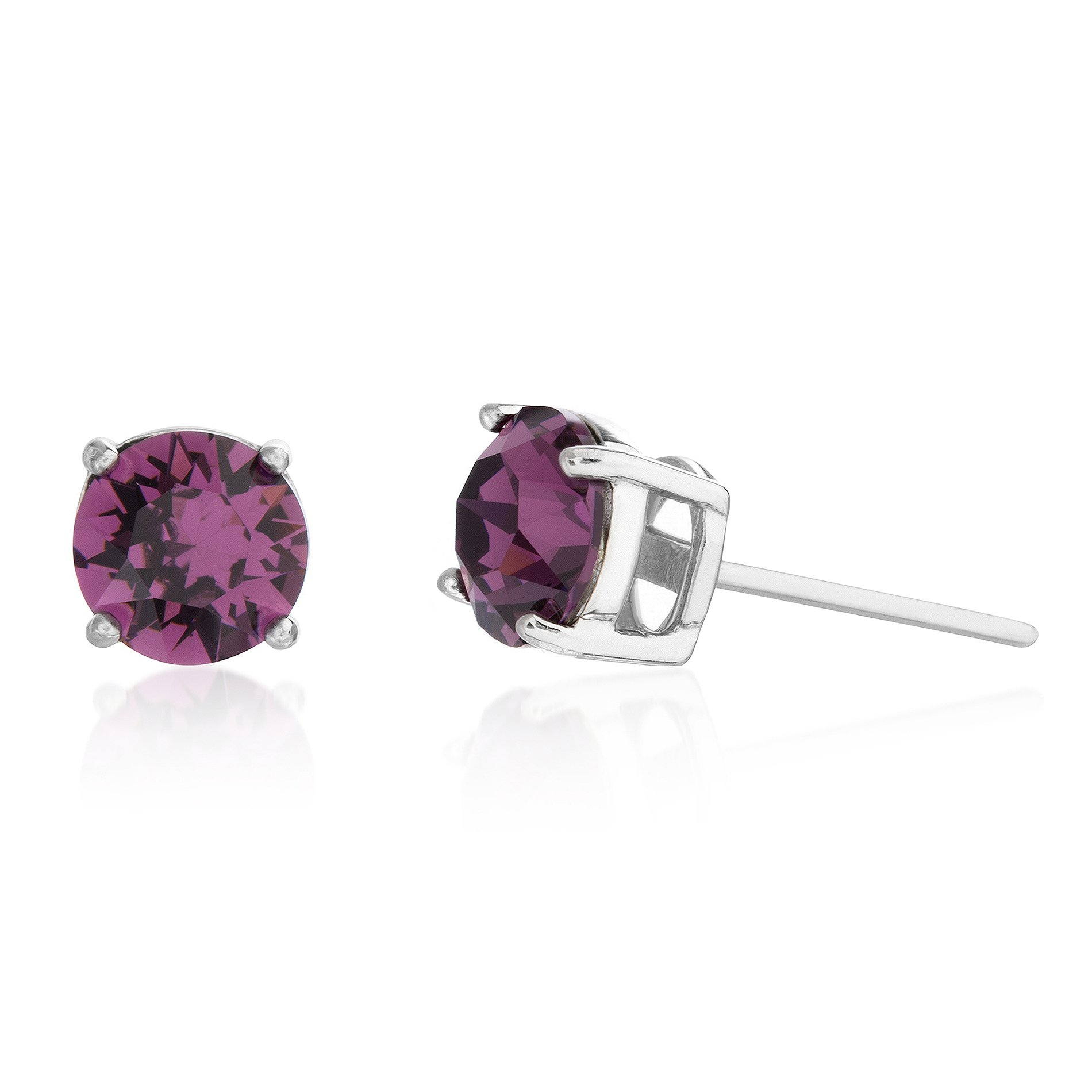Devin Rose Sterling Silver 6mm Round Solitaire Stud Earrings for Women made with Swarovski Crystals (Various Imitation Birthstone)