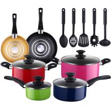 AMERICOOK 15-Piece Kitchen Pots and Pans Set, Colorful Cookware Set Nonstick with 5-piece Nylon Cooking Utensils, Multicolor