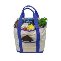 Simple Ecology Reusable Organic Cotton Super Strength XL Grocery Bag - Blue (shopping bags, heavy duty, washable, foldable, pockets, handbag, strong handles, strong magnetic closure)