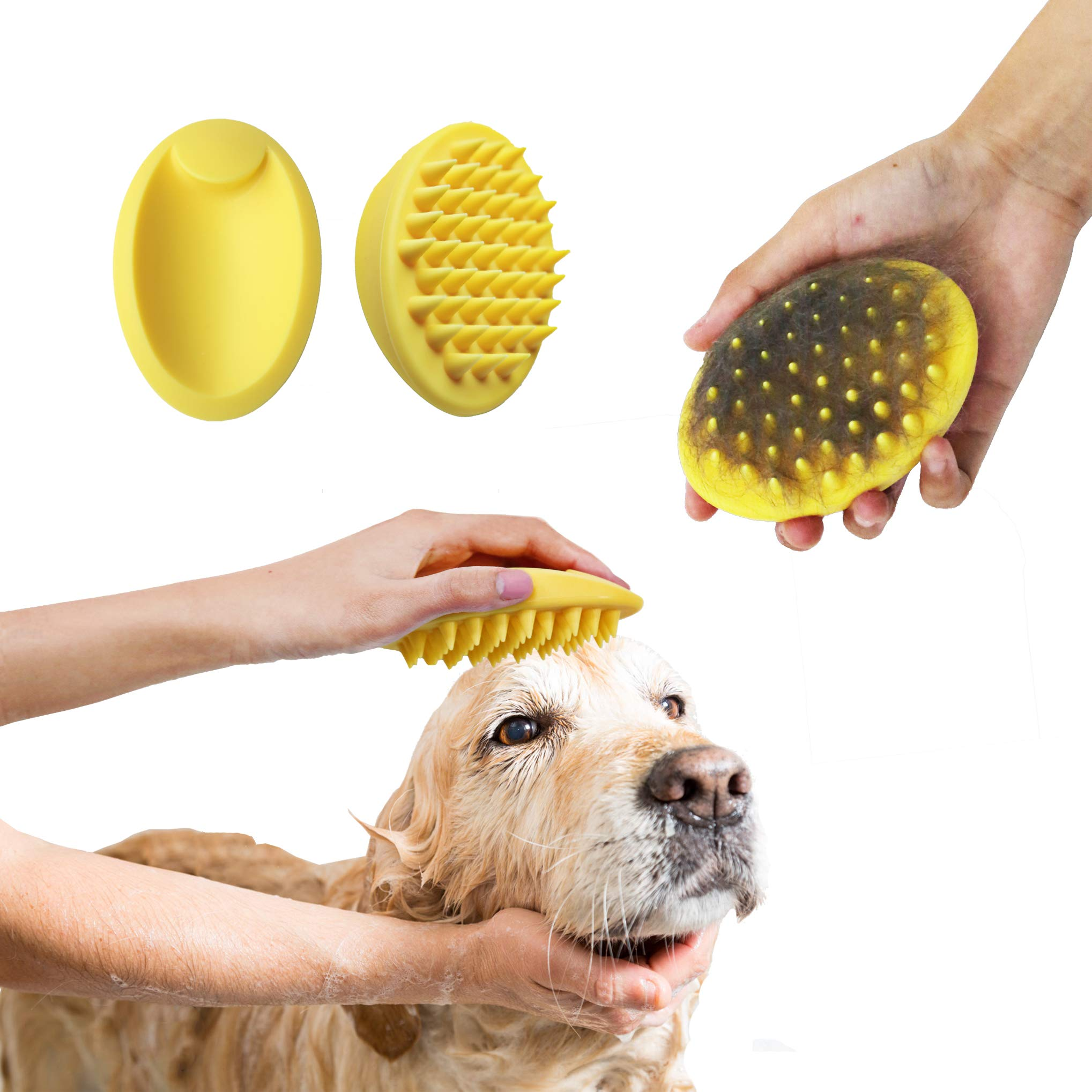 Blingbrione 3 in 1 Pet Soft Silicone Brush for Bath/Massaging/Grooming Cats & Dogs, Removing Loose Fur/Cleaning Skin Gently/Making Hair More Gloss, Suitable for Short Long Hair pets. (Yellow)