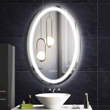 Fumango Wall Mounted Lighted Mirror Oval LED Bathroom,Makeup Vanity Mirror with SmartTouch Warm/Natural/Daylight LED Tones, High Lumen CRI>90 Fogless 20X30 Inch