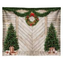 Funnytree 10x8FT Christmas Wood House Photography Backdrop for Xmas Decoration Pine Tree Gifts Rustic Door Background Photo Booth Shoot Polyester Washable