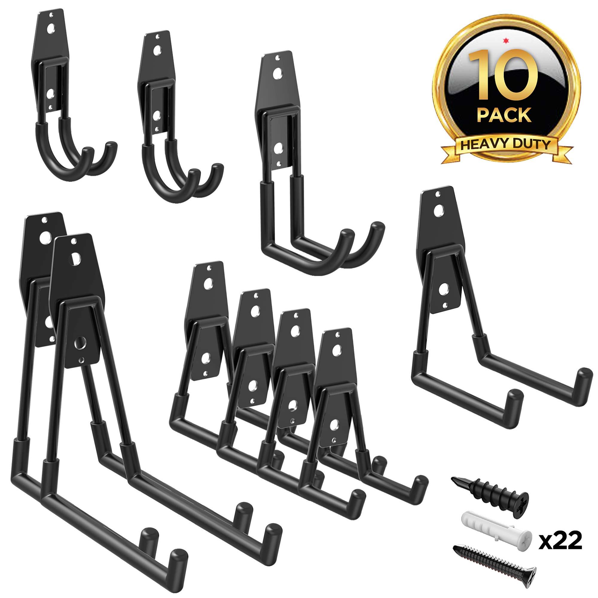 ORASANT 10-Pack Steel Garage Storage Utility Double Hooks, Heavy Duty for Organizing Power Tools, Ladders, Bulk Items, Bikes, Ropes etc. (Black)