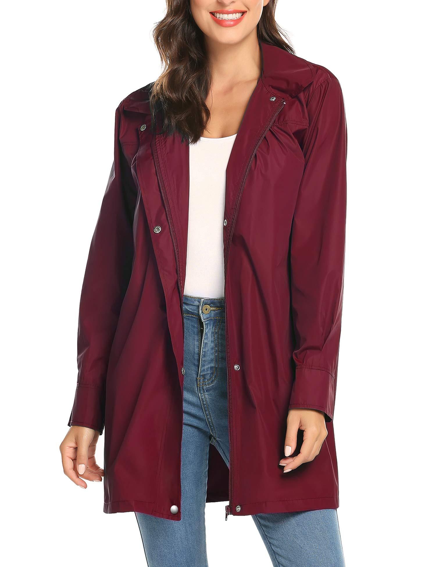 LOMON Women's Raincoat Lightweight Waterproof Outdoor Hooded Long Rain Jacket Windbreaker