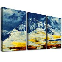 Abstract Inspirational Wall Art for Living Room Farmhouse Bathroom Wall Decor Blue Mountain Abstract Canvas Painting Artwork-3 Pieces Framed Bedroom Wall Decorations Pictures Office Home Decor Art