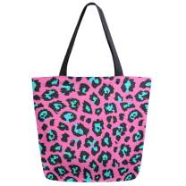 ZzWwR Cute Turquoise Leopard Print Large Canvas Shoulder Tote Top Handle Bag for Gym Beach Travel Shopping,Pink