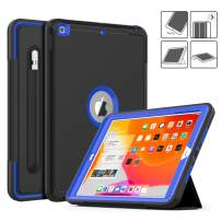 DAORANGE iPad 7th Generation case 10.2 inch 2019, Heavy Shockproof Full Body ProtectiveCase Smart Coverwith Auto Wake/Sleep&Tri-fold Stand[Pencil Holder] for iPad 7th Gen 10.2'' 2019 (Black/Blue)