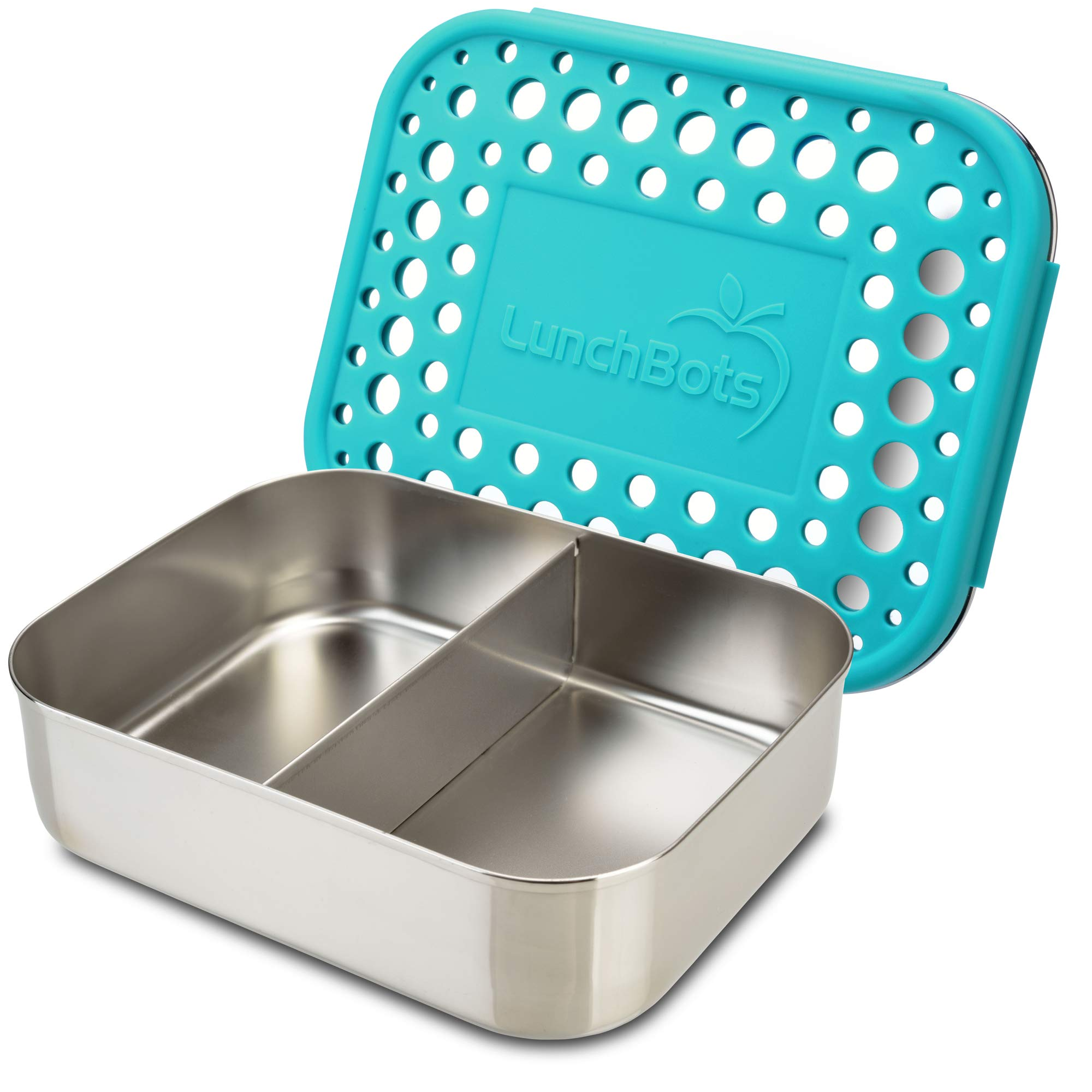 LunchBots Medium Duo Snack Container - Divided Stainless Steel Food Container - Two Sections for Half Sandwich and a Side - Eco-Friendly - Dishwasher Safe - Stainless Lid - Aqua Dots