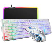 Wired Keyboard and Mouse Mousepad Combo,Mechanical Feel Rainbow Backlit Gaming Keyboard Mouse,10 Color RGB Gaming Mice Pad 8 Color Mute Gaming La Souris for PC Laptop Mac