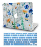 """KECC Laptop Case for MacBook Air 13"""" Retina (2020/2019/2018, Touch ID) w/Keyboard Cover Plastic Hard Shell Case A2179/A1932 2 in 1 Bundle (Floral Pattern)"""
