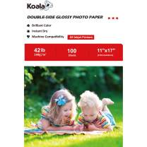 Koala Brochure Paper Double Side Glossy for Printing Photo 11X17 Inches 100 Sheets Compatible with Inkjet Printer 42LB