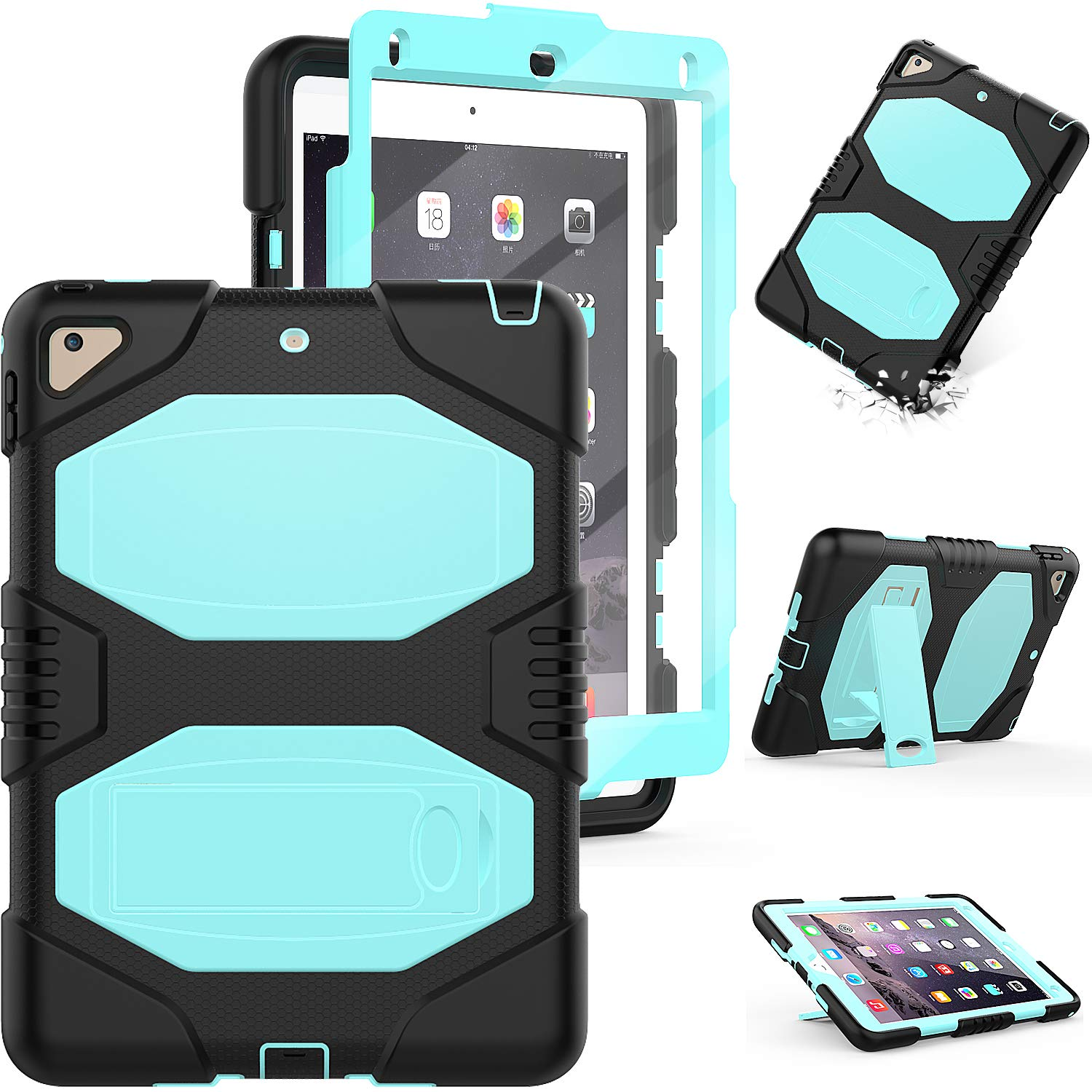 iPad 9.7 5th 6th Generation Case, iPad Pro 9.7 Case,iPad Air 2 Case, 3 Layer Full Body Heavy Duty Shockproof Rugged Protective Case with Stand for iPad 9.7 5th/6th A1893/A1954/A1822/A1823(SkyBlue)