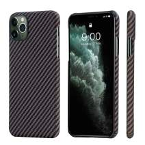 """PITAKA Magnetic Phone Case for iPhone 11 Pro 5.8"""" Minimalist MagEZ Case 100% Aramid Fiber [Body Armor Material] Durable Perfectly Fit Cover-Black/Gold(Twill)"""