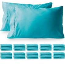Bare Home 40 Pillowcases - Premium 1800 Ultra-Soft Collection - Bulk Pack - Double Brushed - Hypoallergenic - Wrinkle Resistant - Easy Care (King - 40 Pack, Aqua)