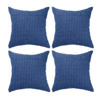 """Set of 4,Decorative Navy Blue Throw Pillow Covers 20"""" x 20"""" (No Insert),Solid Cozy Corduroy Corn Accent Square Pillow Case Sham,Soft Velvet Large Cushion Cover with Hidden Zipper for Couch/Sofa/Bed"""