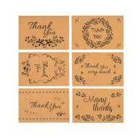 lureme 48 Bulk Thank You Cards with Brown Kraft Envelopes and Stickers, 6 Design 4 x 6 inch Blank Inside with Adhesive Greeting Cards for Graduation, Wedding, Business, Baby Shower (Kraft Paper)