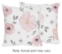 Sweet Jojo Designs Blush Pink, Grey and White Decorative Accent Throw Pillows for Watercolor Floral Collection Set of 2
