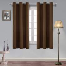 Hiasan Solid Color Blackout Curtains for Bedroom Triple Weave Thermal Insulated, Light Blocking and Energy Saving Window Curtains, 38 x 63 Inches, Brown, 2 Drape Panels