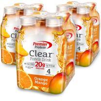 Premier Protein Clear Protein Drink Bottle, Orange Mango, 16.9 Fluid Ounce, Pack of 12
