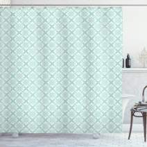 "Ambesonne Teal and White Shower Curtain, Old Fashioned Abstract Mosaic Design Elements with Floral Details, Cloth Fabric Bathroom Decor Set with Hooks, 75"" Long, Mint White"