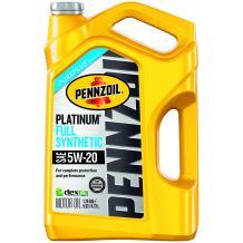 Pennzoil - 550038332 Platinum Full Synthetic Motor Oil 5W-20 - 5 Quart Jug