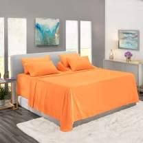 Nestl Bedding Extra Deep Pocket Sheets –Split King Sized Deep Bed Sheet Set – Super Deep Pocket Sheets- 72 in x 84 in Deep Pocket Fitted Sheet Set 7pc – Apricot Buff Orange/Orange.