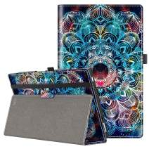 VORI Case for All-New Amazon Fire HD 10 Tablet (9th/7th/5th Generation,2019/2017/2015 Release), Folio Folding Smart Stand Cover with Hand Strap and Auto Wake/Sleep for Fire HD 10.1'', Mandala