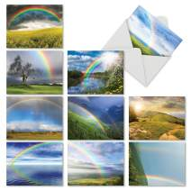 10 Note Cards with Envelopes - Assorted 'Rainbow Bright' Blank Greeting Cards - Beautiful All-Occasion Cards for Birthday, Thank You, Congrats - Stationery Notecards 4 x 5.12 inch - M4963OCB-B1x10