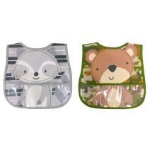 Neat Solutions 2 Pack Water Resistant Toddler Bib Set - Bear & Raccoon, Multi