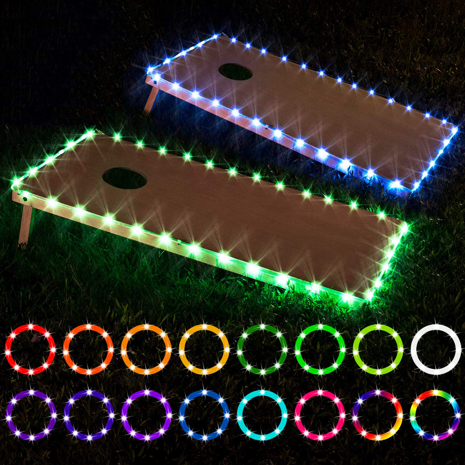 LED Cornhole Lights, Remote Control Cornhole Board Edge LED Lights, 16 Color Change by Yourself, a Great Addition for Playing Bean Bag Toss Cornhole Game at The Family Backyard at Night,2 Sets