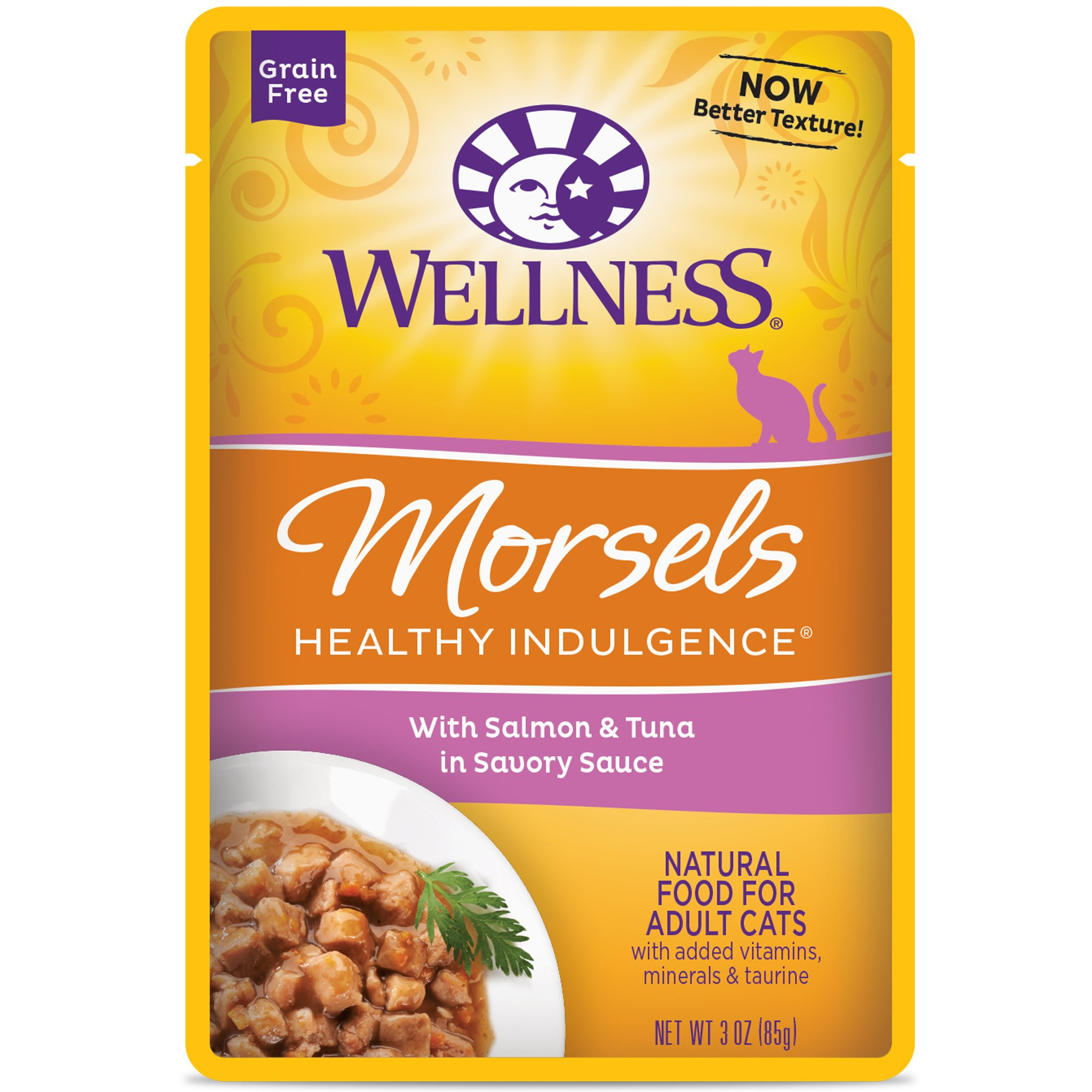 Wellness Healthy Indulgence Natural Grain Free Wet Cat Food Pouches Morsels Salmon & Tuna