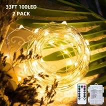 Metaku Fairy Lights 2-Pack Battery Operated String Lights with Remote 33Ft 100 LEDs Dimmable Firefly Lights with 8 Modes & Timer Waterproof Outdoor/Indoor Decor for Patio Porch Bedroom (Warm White)