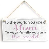 """Meijiafei to The World Mum - Vintage Stylish Sign/Plaque Gift 10""""x5"""""""