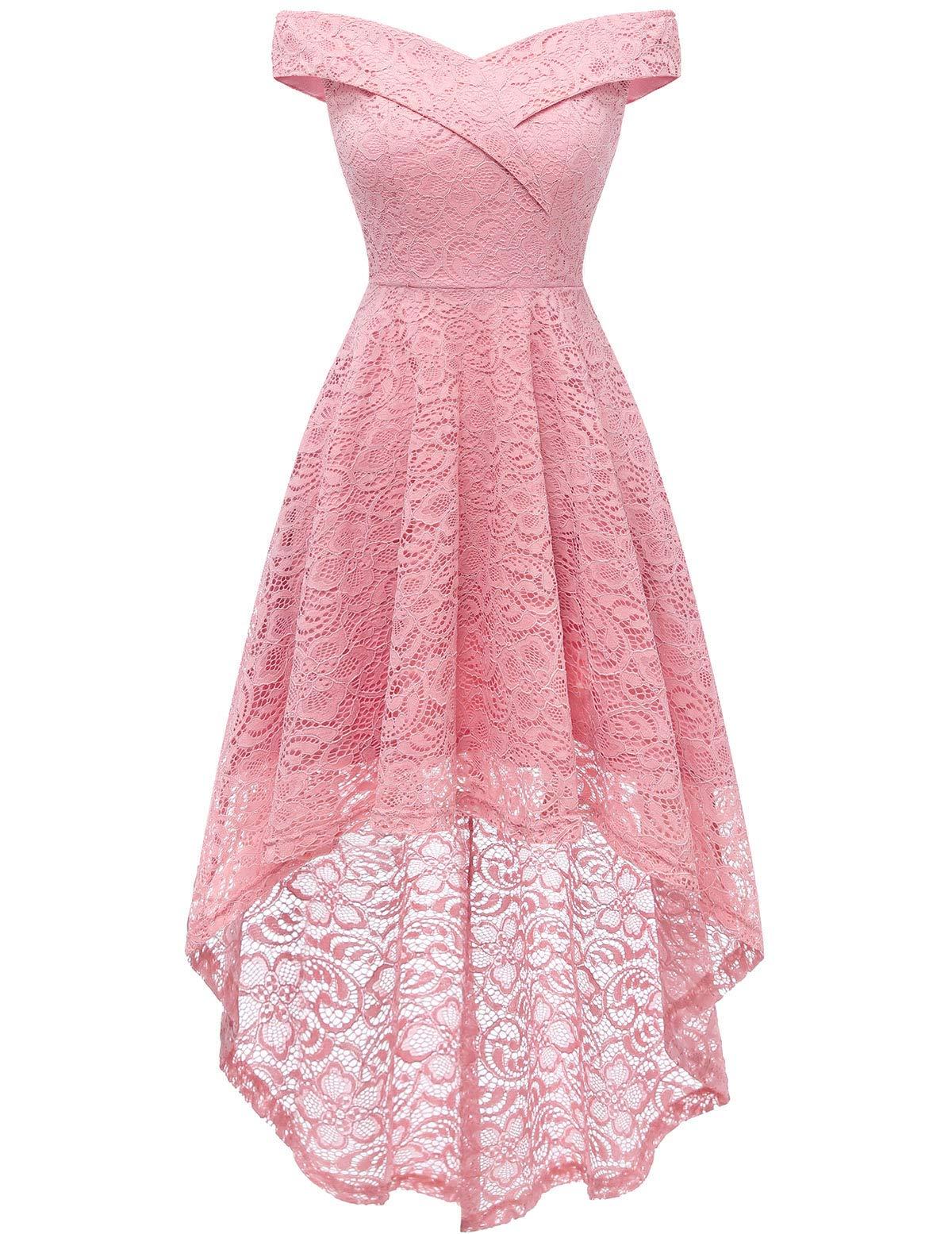 Homrain Women's Vintage Floral Lace Off Shoulder Hi-Lo Wedding Cocktail Formal Swing Dress Plus Size