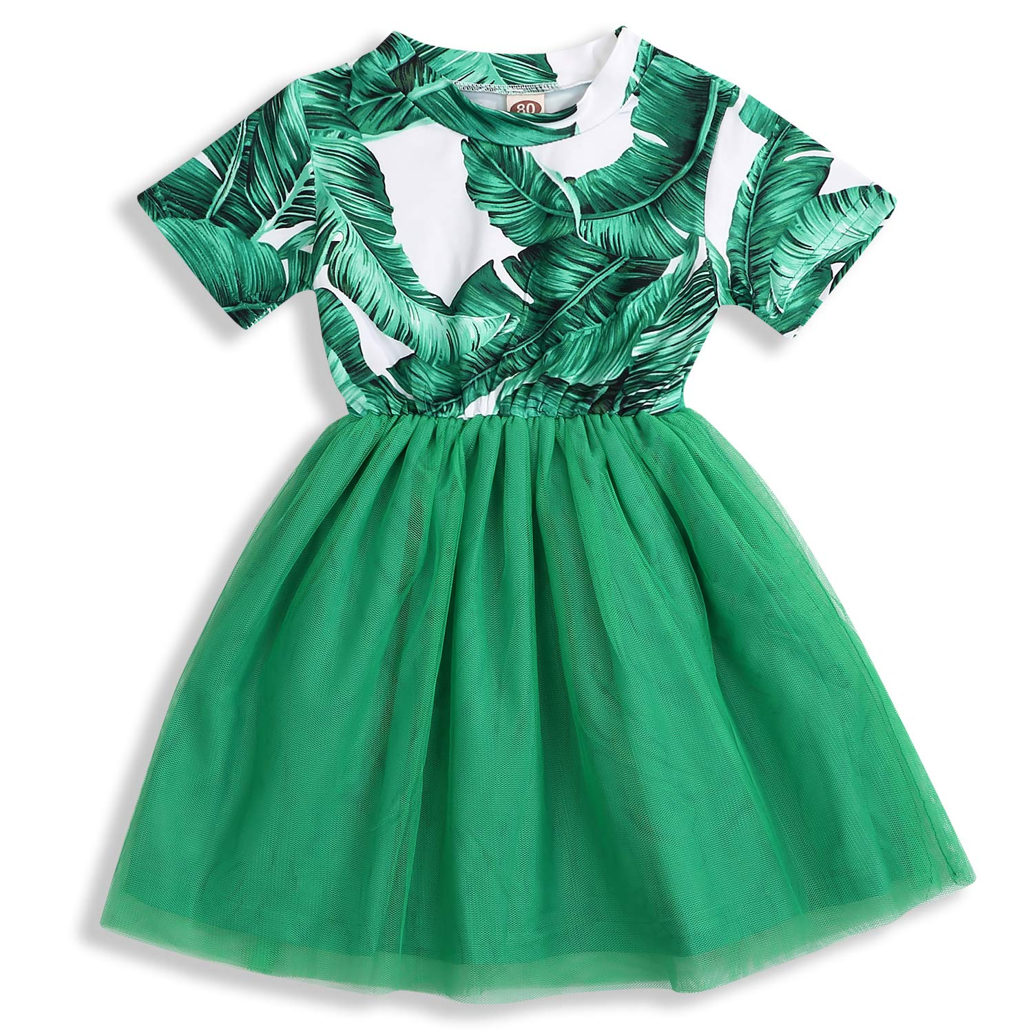Toddler Baby Girl Dress Leaf Ruffle Sleeve Skirt A-line Princess Casual Summer Clothes Outfits