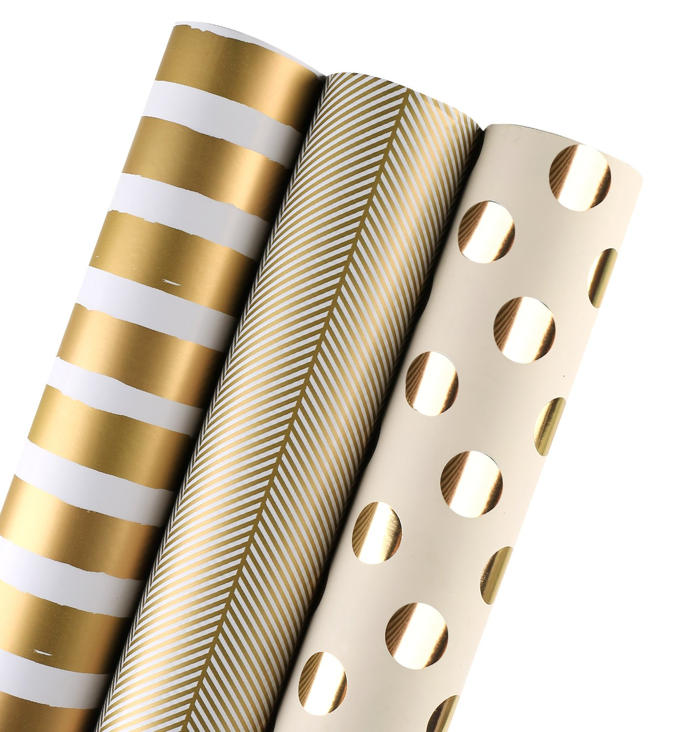 WRAPAHOLIC Gift Wrapping Paper Roll - Gold Print for Birthday, Holiday, Wedding, Baby Shower Gift Wrap - 3 Rolls - 30 inch X 120 inch Per Roll