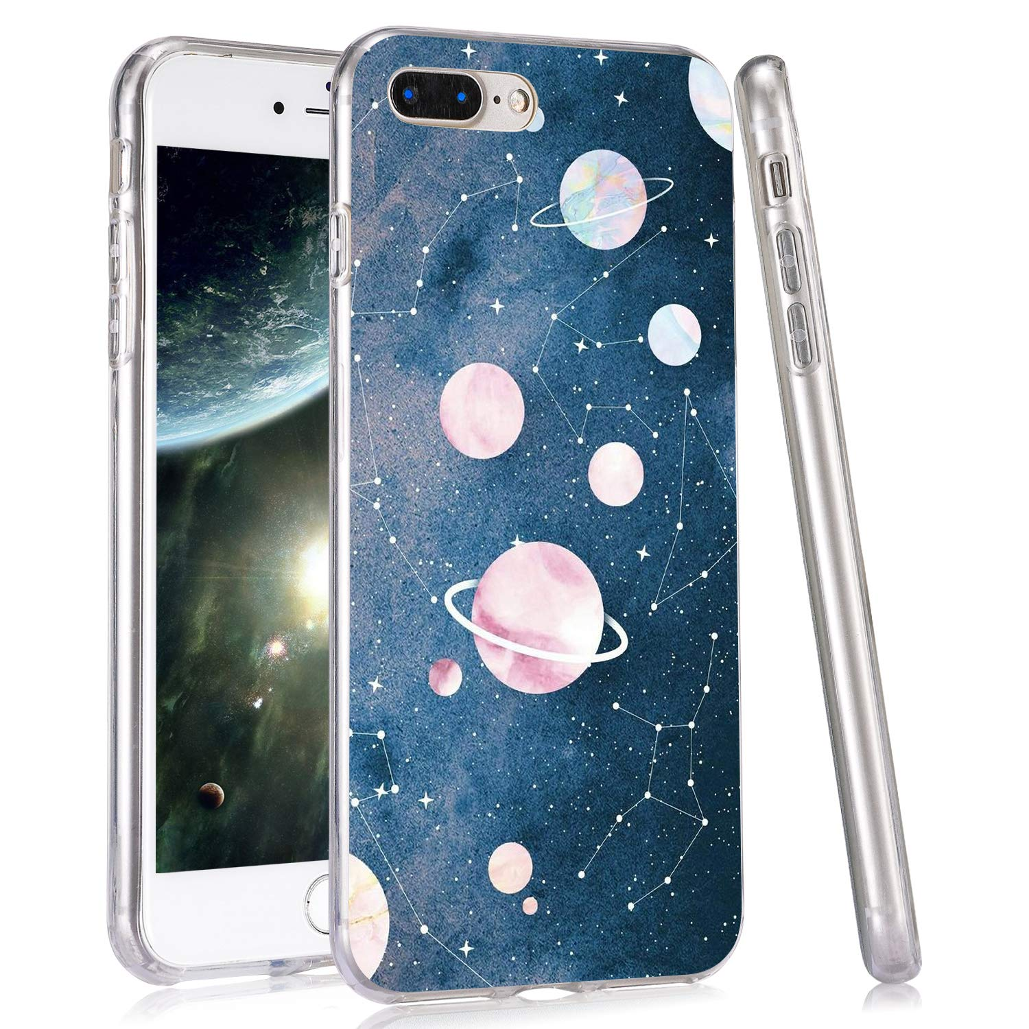 LuGeKe Cool Star Constellation Print Phone Case for iPhone Xs max Silicone Cases Planet Space Pattern Cover Shock Absorption Flexible Skin Frame
