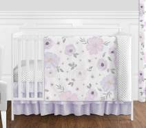 Sweet Jojo Designs Lavender Purple, Pink, Grey and White Shabby Chic Watercolor Floral Baby Girl Nursery Crib Bedding Set - 4 pieces - Rose Flower Polka Dot