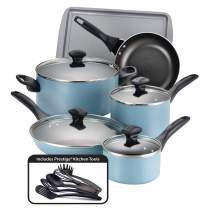 Farberware Dishwasher Safe Nonstick Cookware Pots and Pans Set, 15 Piece, Aqua