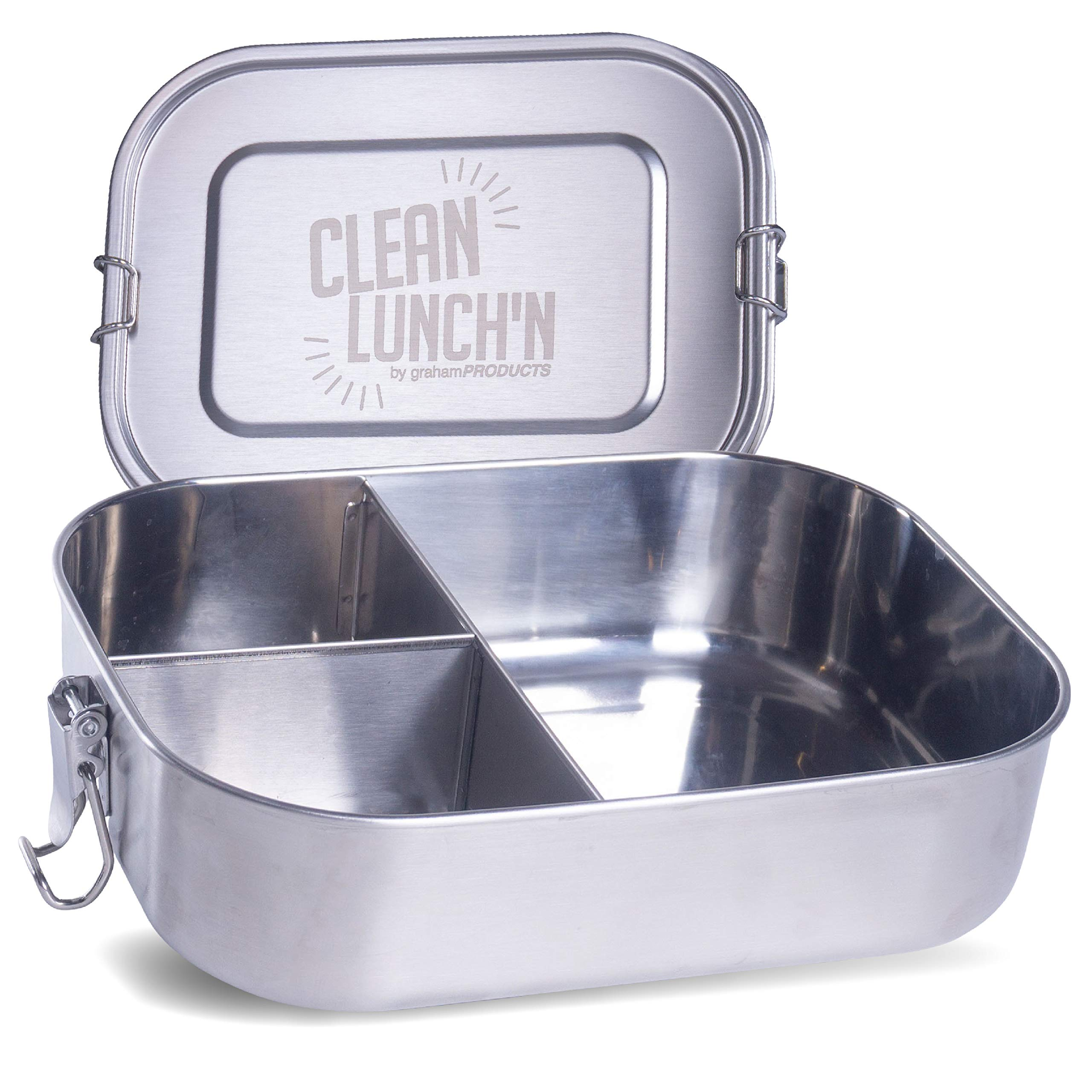 Clean Lunch'N Stainless Steel Lunch Box - Large Metal Bento Container with 3 Divided Meal Prep Food Compartments and Leak Proof Lid For Adults or Kids Eco-Friendly Insulated Snack Storage