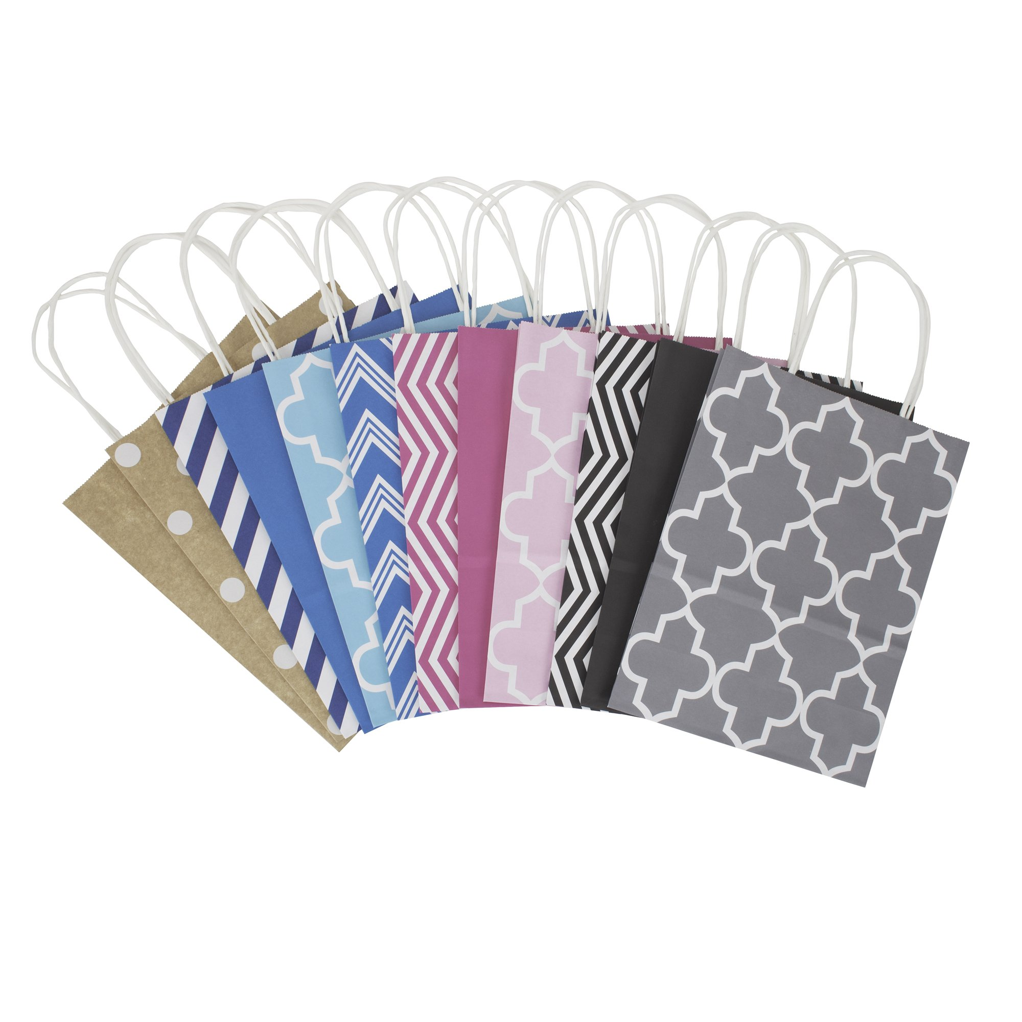 """Hallmark 10"""" Medium Gift Bag Assortment, Pack of 12 in Kraft, Grey, Black, Pink, Blue - Solids and Patterns for Birthdays, Baby Showers, Bridal Showers or Any Occasion"""